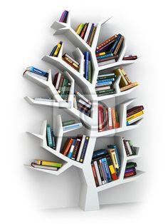 Wall Mural tree of knowledge. bookshelf on white . - tree • PIXERSIZE.com