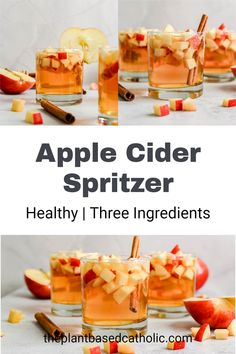 Enjoy a Healthy Apple Cider Spritzer this fall. Made with only a few simple ingredients, this drink is light and refreshing.