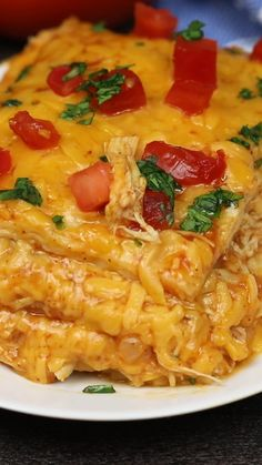 This easy Chicken Enchilada Casserole is made with red sauce, chicken, and flour tortillas, layered together with perfectly melted cheese for a delicious comfort food casserole that everyone will love Easy Chicken Recipes, Easy Dinner Recipes, Recipe Chicken, Dinner Ideas, Easy Recipes, Recipes For Rotisserie Chicken, Easy Comfort Food Recipes, Cooked Chicken Recipes Leftovers, Healthy Shredded Chicken Recipes