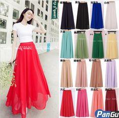 chiffon long skirt 2013 new,tulle skirts women high waist maxi, pleated Skirt Free Shipping $7.20