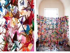 Art Japanese legend says that any person who folds 1000 origami paper cranes gets one wish. In any case, folding origami is very meditative and the result is colorful and beautiful crafts-and-projects Attic Renovation, Attic Remodel, Origami Paper Crane, Origami Cranes, Origami Birds, Origami Animals, Origami Swan, Oragami, Origami Flowers