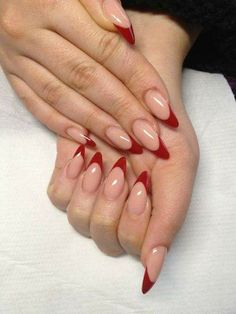 Dope Nails Of The Day: Red French – nails. Frensh Nails, Dope Nails, Coffin Nails, Nails 2018, Bling Nails, Red Acrylic Nails, Acrylic Nail Designs, Pink Nail, Red Nail Art