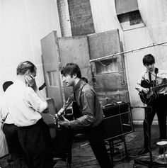 The Beatles during a She Loves You recording session