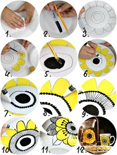 It's easy to make dishwasher safe, vintage Marimekko dishes! Pottery Painting, Ceramic Painting, Diy Painting, Painted Ceramic Plates, Tin Can Crafts, Sharpie Crafts, Creative Arts And Crafts, African Textiles, Ceramic Design