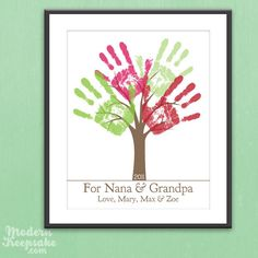 Grandparents Holiday Gift - DIY Personalized Child's Handprint Tree - Printable pdf Kids Craft Project. $15.00, via Etsy.