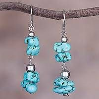 Sterling silver beaded dangle earrings, 'Peruvian Pebbles' - Sterling Silver and Reconstituted Turquoise Dangle Earrings Homemade Jewelry Organizer, Earrings Handmade, Handmade Jewelry, Diy Jewellery, Jewelry Crafts, Beaded Jewelry, Diy Jewelry Inspiration, Jewelry Ideas, Jewelry Box