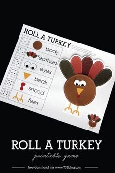 Print this adorable Roll a Turkey Children's Game for a little pre-Thanksgiving fun! Print this adorable Roll a Turkey Children's Game for a little pre-Thanksgiving fun! Thanksgiving Games For Kids, Thanksgiving Parties, Thanksgiving Decorations, Thanksgiving Traditions, Thanksgiving Craft Kindergarten, Thanksgiving Favors, Thanksgiving Blessings, Kindergarten Fun, Family Thanksgiving