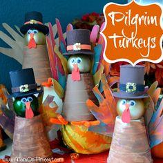 Pilgrim Turkeys...Gobble! Gobble! from MomOnTimeout.com #Thanksgiving #turkey #craft