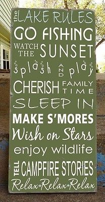 the lake rules - go fishing - watch the sunset - splash and play - cherish family time - sleep in - make s'mores - wish on stars - enjoy wildlife - tell campfire stories - relax - relax - relax! (if you are a camper, this hits so close to home! Lake Rules, Lake Signs, Beach Rules, Lake House Signs, Cottage Signs, Campfire Stories, Haus Am See, Lake Cabins, Seen