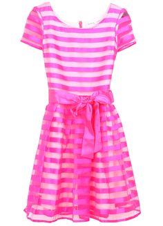 Red Short Sleeve Striped Belt Bandeau Dress