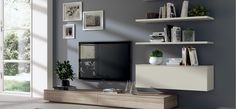 'Mood' Independent Living Solution. Doors, Shelves: Laminate in Seagull Grey SCAV380. Doors, Top: Decorative Melamine in Zolfino Larch SCAV701.
