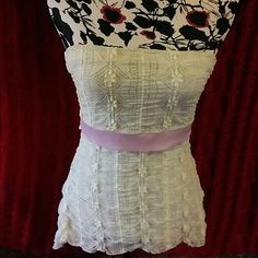 """Jessa & Lisa Cream and Pink Lined Lace Tube Top Beautiful tube top, baby pink ribbon, ties in back, fully lined, lace outter, size Medium. Really, really pretty top!!  Measurements: Bust: 14.5"""" (has elastic stretch) Length: 17"""" Jessa & Lisa Tops Blouses"""