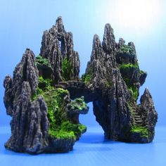 Mountain View Aquarium Ornament Tree House Cave Bridge | eBay