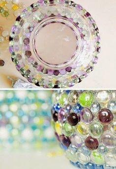 Cómo transformar un tazón de vidrio con canicas y pasta o mezcla de yeso y cemento Marble, Arts And Crafts, Pasta, Diy, Glass, Craft, Glass Marbles, Nail String Art, Garden Decorations
