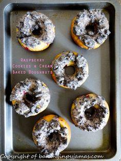 Raspberry Cookies n Cream Baked Doughnuts  https://bakinginpyjamas.com/2016/07/06/raspberry-cookies-n-cream-baked-doughnuts-foodieextravaganza/