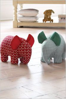 Door Stop Elephant stuffed animal soft toy Sewing Toys, Sewing Crafts, Sewing Projects, Craft Projects, Fabric Toys, Fabric Crafts, Stuffed Animal Patterns, Stuffed Animals, Door Stopper