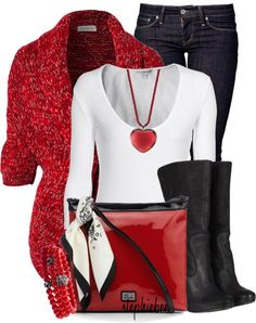 Red Sweater & Purse.  White Top.  Black Boots. Blue Jeans. Red heart necklace. Cute!