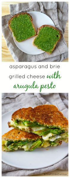 A grown-up grilled cheese for spring! Asparagus and Brie Grilled Cheese is finished off with an arugula pesto to seal the deal.  | @TheFoodieDietitian #spring #grilledcheese #pesto #lunch