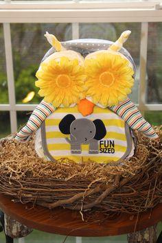 Owl Diaper Cake - Cute as a centerpiece.