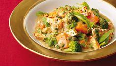 Gebratener Tofu an asiatischen Kuerbis-Curry