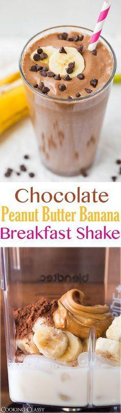 Chocolate Peanut Butter Banana Breakfast Shake
