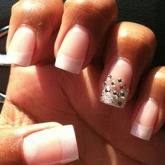 Pearl French tip nails and rhinestone/crystal ring finger Nail Art Diy, Cool Nail Art, Diy Nails, Cute Nails, Pretty Nails, Pearl Nails, Rhinestone Nails, Bling Nails, French Tip Nail Designs