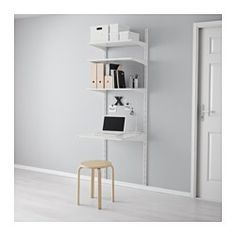 IKEA ALGOT wall upright/shelves Can also be used in bathrooms and other damp areas indoors. Ikea Algot, Wall Mounted Desk, Plastic Shelves, Garage Shelving, Shelving Units, Scandinavian Interior Design, Closet System, Kallax, Wall Storage