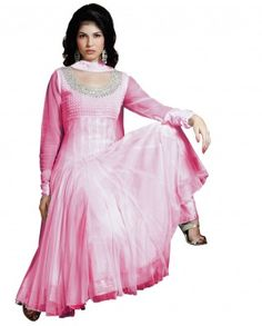 $128 Feel the heavenly presences with this sky blue colored suit. Neckline is round in shape which is embellished with silver zari and sequins work. It's a anarkali suit with fine finishing on the bottom of the border.    Color-Pink  Material-Net  Work-Zari and sequins  Slight variation in color is possible