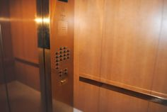 Brass and Warm Wood Veneer compliament each other in this Elevator interior.