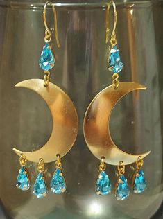 Crescent Moon Earrings Sterling Silver French Hook Ear Wire Galaxy Celestial Earrings Gift Dangle Drop Charm Earrings