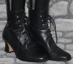 Black Leather Victorian Lace Up Brogue Ankle Boots 5/38 Steampunk Witch Goth