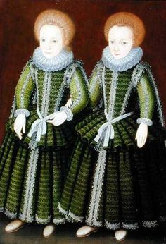 Image:  English School - Portrait of Sarah and Elizabeth Poulett of Hinton St. George, Somerset 	(c.1600)
