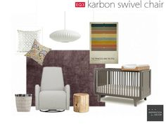 """I absolutely love the EQ3 Karbon Swivel Chair and think it would be perfect in a modern nursery. My mood board features the Karbon Swivel Chair in a modern, soft, relaxed nursery with a slight retro twist."" -Dayna  www.daynasimpson.com"