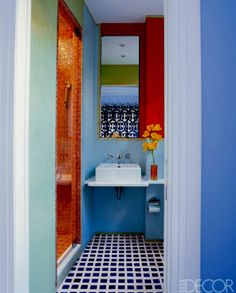 Blue And Red Contemporary Style Bathrooms Paint Color Schemes Colors Make The