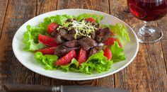 Теплый салат из печенки