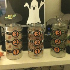 Containers for a candy corn relay race.