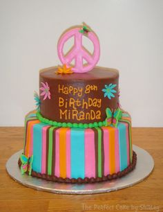 Hippie Party Supplies 60s | This is a cake made to match the Hippie Chick party supplies. Iced in ...