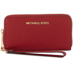 MICHAEL Michael Kors Jet Set Travel Saffiano Multifunction Tech... ($105) ❤ liked on Polyvore featuring bags, wallets, cherry, red bag, travel bag, cell phone bag, red wallet and saffiano leather wallet
