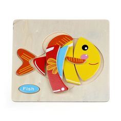 [ 27% Off ] High Quality Wooden Cute Fish Puzzle Educational Developmental Baby Kids Training Toy Aug24