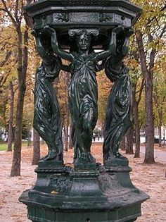 gorgeous drinking fountains in paris. i don't think that even i am crazy enough to try to visit all 78 of them...
