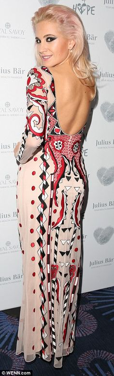 Back to basics: The songstress, who was performing at the event, looked sensational in an intricately patterned maxi dress with a stunning backless detail Candyfloss, Pink Gowns, 24 Years Old, Mail Online, Daily Mail, Locks, Charity, Pixie, Fashion Inspiration