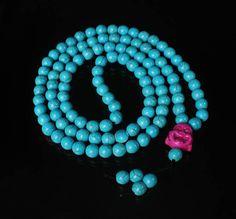 108 Turquoise Blue Ball & Purple Buddha Beads Buddhist Prayer Mala Necklace 38