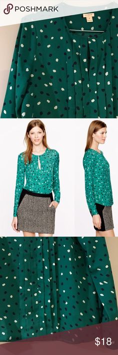 Green Dotted Blouse White , navy blue and green dots complement this top for work. Keyhole neckline. Super cute! Worn 2x J. Crew Tops Blouses