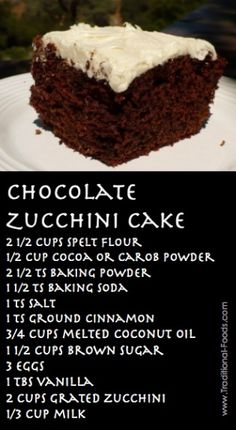 Chocolate Zucchini Cake Recipe @ Traditional-Foods.com