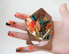 Steampunk Brooch Pin Hand Painted Brown Leather Mixed by Elyseeart
