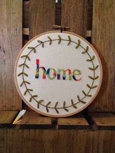 Home embroidery hoop by itsonlyyou on Etsy Embroidery Hoop Crafts, Types Of Embroidery, Machine Embroidery Patterns, Embroidery Designs, Cross Stitching, Cross Stitch Embroidery, Hoop Dreams, Embroidery Techniques, Needlework