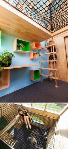 This modern playhouse (or cubbyhouse) has decorative siding and a curved roof with windows. Inside, there's bench seating, storage and loft with…