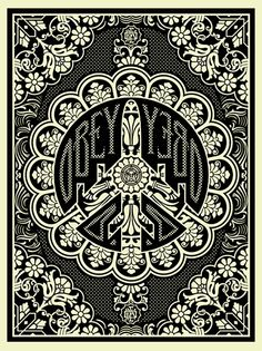A Peace Bomber  by Shepard Fairey- I like this design as it is very complex and detailed. All of the little designs in each little part work together and make one big pattern which looks spectacular when put together.
