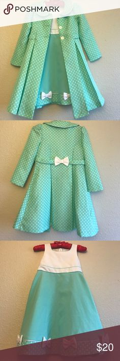 Little girl dress Beautiful little girl dress in colors Mint green with white. Features bows & polkadots. Zips on back. Comes with matching coat. Like new! Janie and Jack Dresses Formal