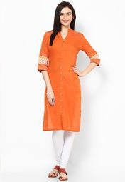 W Orange Solid Kurta Online Shopping Store